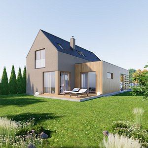 3D House 2 - Created with fully parametric Revit Families