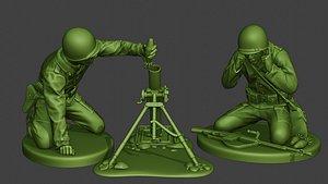 3D american soldier ww2 m2 model