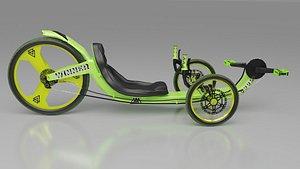 3D Light Green Trike Bike