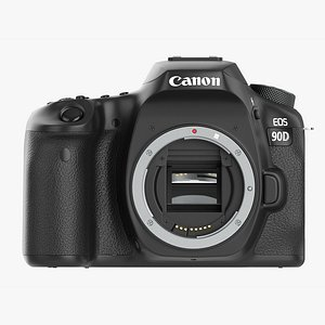 Canon EOS 90D DSLR camera body closed 3D model