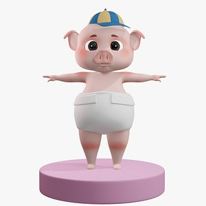 Cartoon Baby Pig with HAT Rigged 3D model