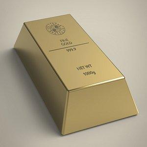 3D Gold ingot