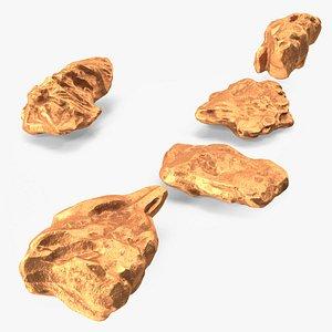 3D model Copper Natural Minerals Small Stones