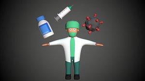 Cartoony Doctor Set Vaccine Virus Needle model