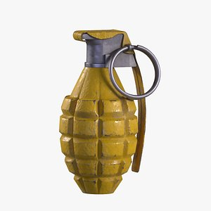 3D Mk 2 Grenade yellow painted
