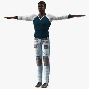 Afro American Man in City Style T Pose model