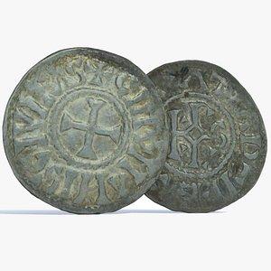 3D Medieval Denar Karolus