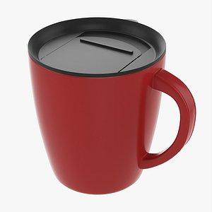 3D Travel coffee mug with handle 01