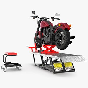 3D QuickJack Motorcycle Lift with Harley Davidson Softail Slim