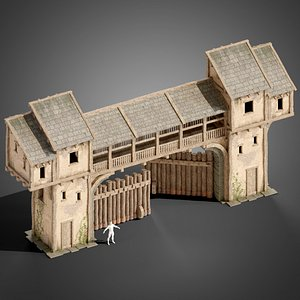 medieval wall gate model