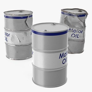 motor oil barrels set 3D model
