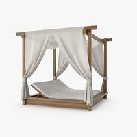 Wood Outdoor Pergola with Fabric Curtains