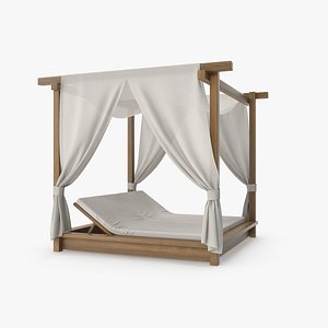 3D model Wood Outdoor Pergola with Fabric Curtains