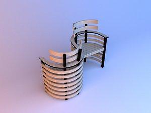 Garden wood chair 3D model 3D model