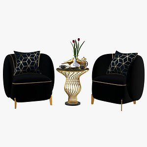Gold Luxury Chair Coffee Table Set 3D model