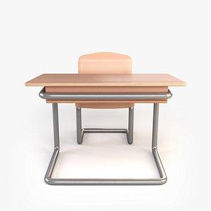wooden school desk 3D model