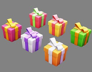3D Cartoon colorful gift box - Square gift box