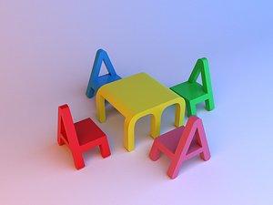 Alphabet childs set furniture 3D model