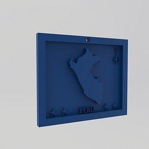 Peru Map Print 3D model
