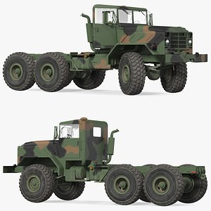 3D M939 Military Truck Green Rigged