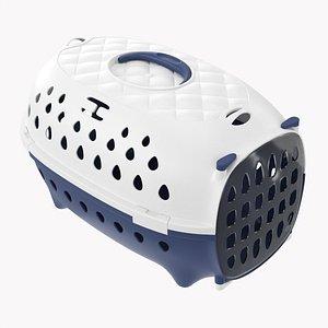 3D Travel pet carrier white blue model