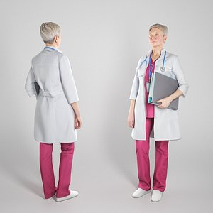 woman medical folder people 3D model