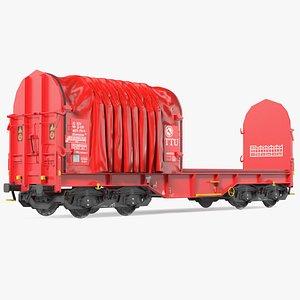 3D model DB Cargo Coil Transporter Tarpaulin Freight Wagon No Interior Clear