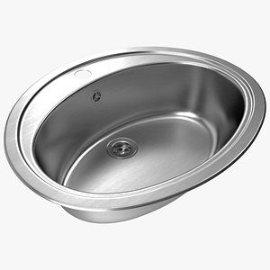 Oval Kitchen Sink with Overflow Drain 3D model