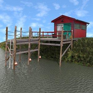 3D Red Fishing Hut