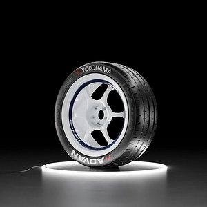 3D Car wheel Yokohama A052 tire with ADVAN RG I rim