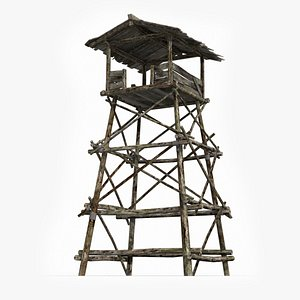 Ancient wooden watchtowers model