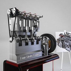 four-stroke engine 3D