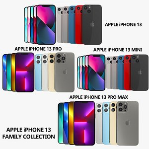 3D Apple iPhone 13 Family Collection model