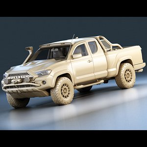 3D Generic Pickup Truck Game Ready Mesh Midpoly model