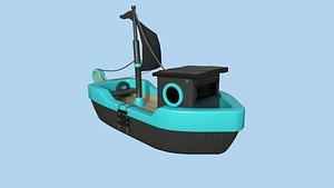 Cartoon Boat 07 Black Blue - Low Poly Ship 3D