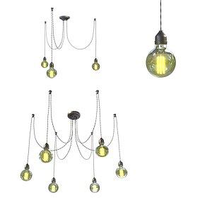 3D model chandelier lamp edison