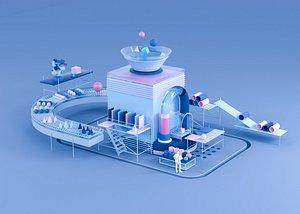 conveyer belt 3D model