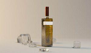 foreign wine bottle 3D