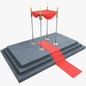 3D pedestal stair carpet canopy