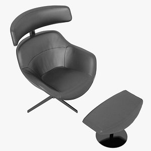Cassina 277-12 Auckland Arm Chair and 277-42 Auckland Ottoman Black Leather Black Body 3D model