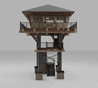 Fire Lookout Tower Architecture Build 3D model