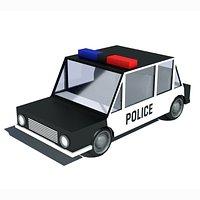 Cartoon Low Poly Police Car