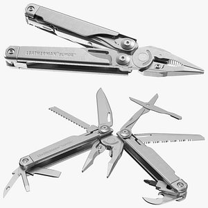 Leatherman Surge Multitool Silver Rigged 3D model