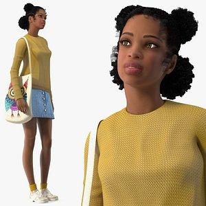 Street Style Light Skin Black Teenage Girl Rigged 3D