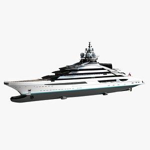 3D model Lurssen Nord Luxury Yacht Dynamic Simulation