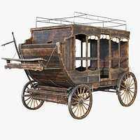 Wooden Carriage, 8K PBR, Rigged