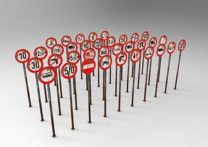 Traffic Signs Red Rust 35 Pieces 3D model