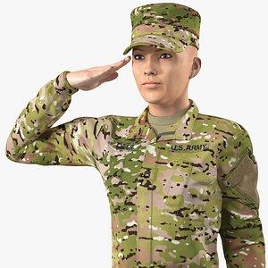 female soldier camo saluting 3D model