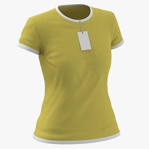 3D Female Crew Neck Worn With Tag White and Yellow 02 model