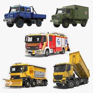 3D Mercedes Benz Trucks Rigged Collection 2